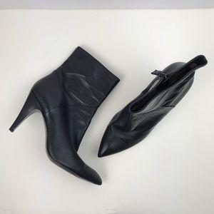 Via Spiga leather pointy toe black heel booties